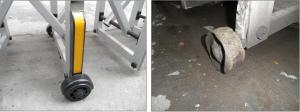 Barrier tự đồng sử dụng quá lâu nên chân và thanh chắn bị rỉ sét
