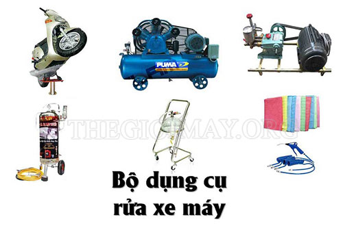 Bộ dụng cụ rửa xe tại các gara chuyên nghiệp