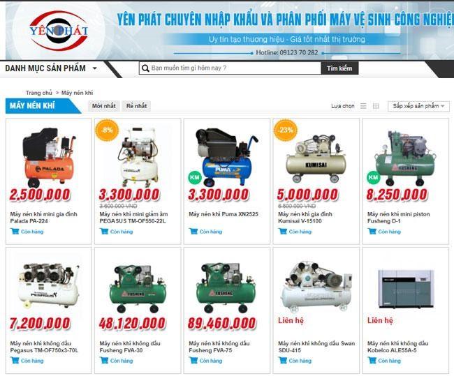 Yên Phát cung ứng máy nén không khí giá thành hợp lý, đa dạng