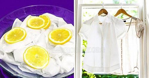 tẩy quẩn áo dính màu bằng chanh