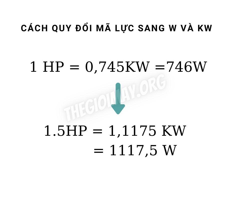 1.5hp bang bao nhieu kw